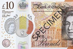 Nový vzor polymerové bankovky 10 GBP.